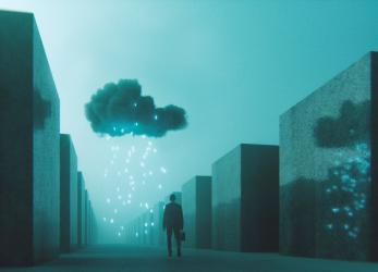 Ominous mobile cloud computing conceptual image.