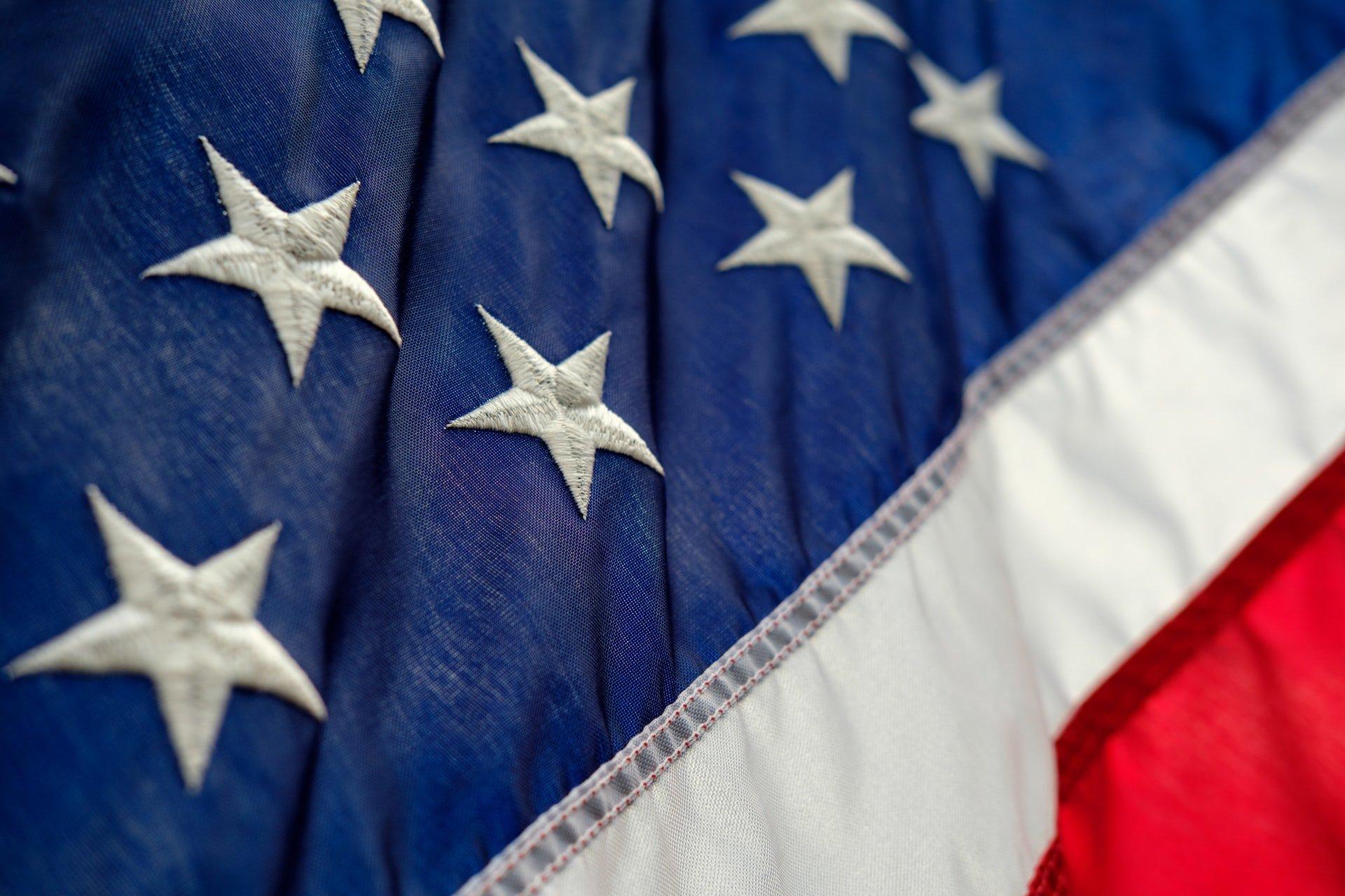 A close up of the USA flag.