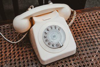 a cream coloured telephone.